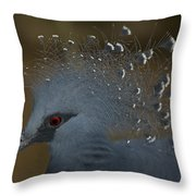 Closeup Of A Captive Victoria Crowned Throw Pillow