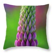 Closeup Of A Pink Lupine Throw Pillow