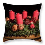 Closeup Of An Advent Wreath, Unlit Candles Throw Pillow