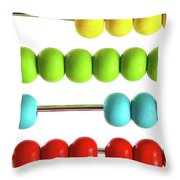 Closeup Of Bright  Abacus Beads On White Throw Pillow by Sandra Cunningham