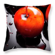 Closeup Of Red Candy Apple On Stick Throw Pillow