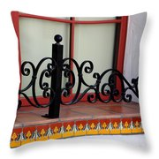 Closeup Of Window Decorated With Terracotta Tiles And Wrought Iron Photograph By Colleen Throw Pillow