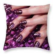 Closeup Of Woman Hands With Purple Nail Polish Throw Pillow