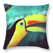 Closeup Portrait Of A Colorful And Exotic Toucan Bird Against Blue Background Nicaragua Throw Pillow