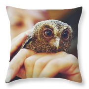 Closeup Portrait Of A Girl Holding And Tending A Small Baby Owl In Her Hands Throw Pillow