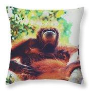Closeup Portrait Of A Wild Sumatran Adult Female Orangutan Climbing Up The Tree And Holding A Baby Throw Pillow