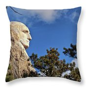 Closeup Profile Of George Washington At Mount Rushmore National Memorial In South Dakota Throw Pillow by Sam Antonio Photography