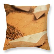 Closeup Toned Image Of Paper Boats On World Map Throw Pillow