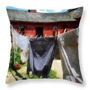 Clothes Hanging On Line Closeup Throw Pillow