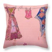Clothes Line Mural Burlington Vermont Throw Pillow