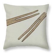 Clothes Pins Throw Pillow