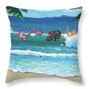 Clothesline At The Beach Throw Pillow