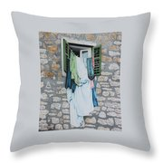 Clotheslines In Dobrovnik Throw Pillow