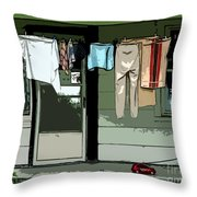 Cloths Line Throw Pillow