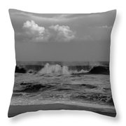 Cloud And Wave Black And White Seaside New Jersey  Throw Pillow