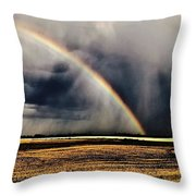 Cloud Burst And Rainbow Early Spring Storm Throw Pillow