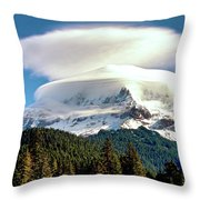 Cloud Capped Mount Hood Throw Pillow