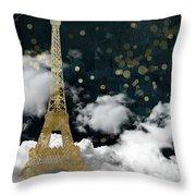 Cloud Cities Paris Throw Pillow