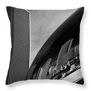 Cloud Gate And Aon Center Black And White Throw Pillow