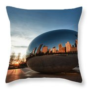 Cloud Gate At Sunrise Throw Pillow