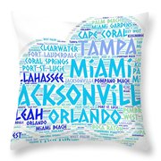 Cloud Illustrated With Cities Of Florida State Throw Pillow