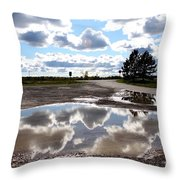 Cloud Reflection In Puddle Throw Pillow