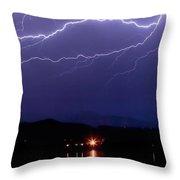 Cloud To Cloud Horizontal Lightning Throw Pillow by James BO  Insogna