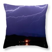 Cloud To Cloud Horizontal Lightning Throw Pillow