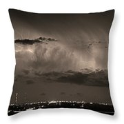Cloud To Cloud Lightning Boulder County Colorado Bw Sepia Throw Pillow