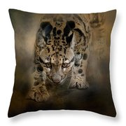Clouded Leopard On The Hunt Throw Pillow