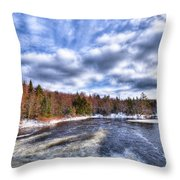 Clouds Above The Lock And Dam Throw Pillow