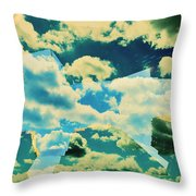Clouds And Nyc Throw Pillow
