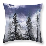 Clouds And Snow Swirling Throw Pillow
