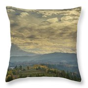Clouds And Sun Rays Over Mount Hood And Hood River Oregon Throw Pillow