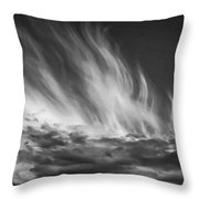 Clouds - Flame Shape - Black And White Throw Pillow