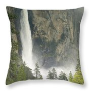 Clouds Hang Over Bridaveil Falls Throw Pillow