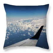 Clouds Under An Airplane Wing Throw Pillow