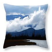 Clouds On The Mountains Throw Pillow