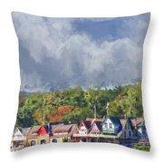 Clouds Over Boathouse Row Throw Pillow