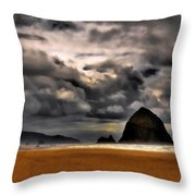 Clouds Over Cannon Beach Throw Pillow