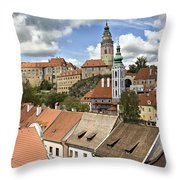 Clouds Over Cesky Krumlov Throw Pillow