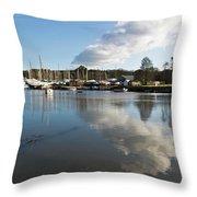 Clouds Over Cockwells Boatyard Mylor Bridge Throw Pillow
