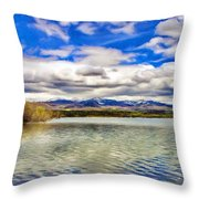 Clouds Over Distant Mountains Throw Pillow