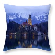 Clouds Over Lake Bled Throw Pillow