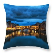 Clouds Over Ponte Vecchio Throw Pillow