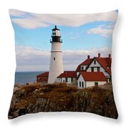 Clouds Over Portland Head Lighthouse 3 Throw Pillow