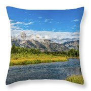 Clouds Over The Grand Tetons Throw Pillow