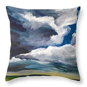 Clouds Over The Prairie Throw Pillow