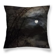 Clouds Passing The Snow Moon Throw Pillow