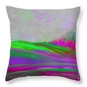 Clouds Rolling In Abstract Landscape Purple And Hot Pink Throw Pillow